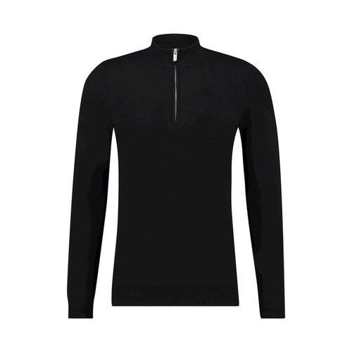 Purewhite Essential Knitted Half Zip Jumper Black