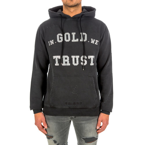 In Gold We Trust Hoodie Washed Fade Logo Black/White