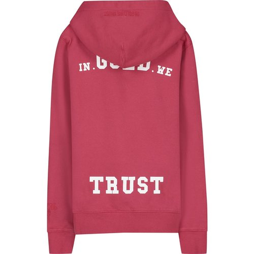 In Gold We Trust Garment Dye Hoodie Chinese Red