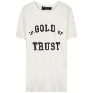In Gold We Trust TSHIRT WHITE BLACK LOGO DESTROYED
