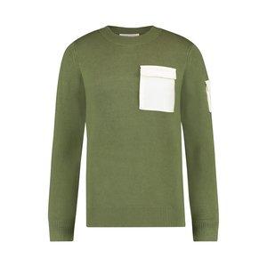 Purewhite Knitted Utility Crewneck Green White