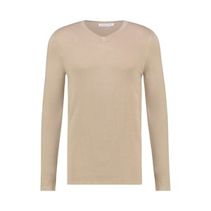 Purewhite Essential Knitted Long Sleeve V-Neck Sand