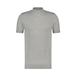 Purewhite Knitted Short Sleeve Mock Neck