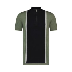 Purewhite KNITTED HALF ZIP POLO GREEN BLACK
