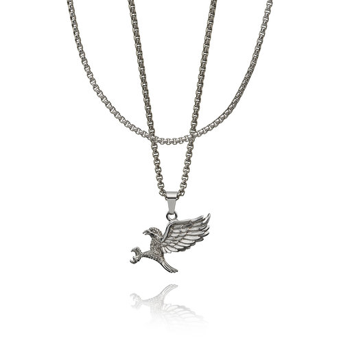 CROYEZ Eagle pendant with round box chain