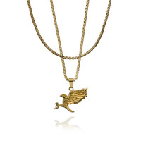 Eagle pendant with round box chain