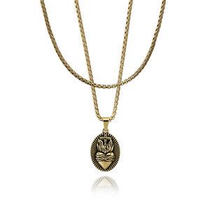 CROYEZ Sacred Heart pendant with Round Boxchain