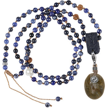 PimpsandPearls Mala Necklace Sodalite &Charm Petrified Wood