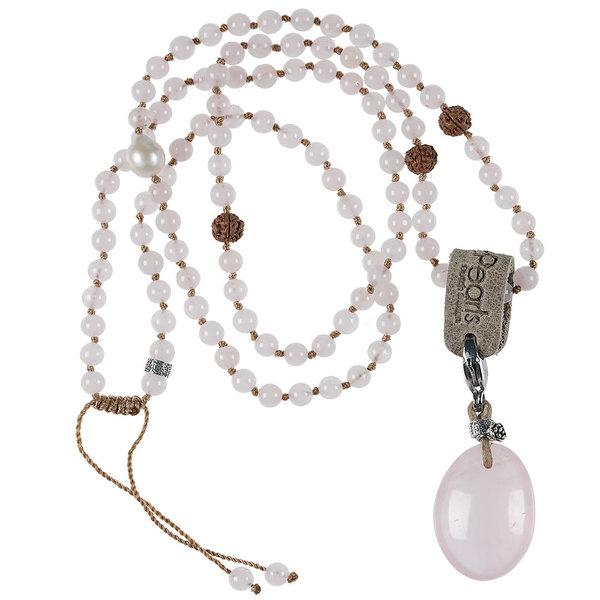 PimpsandPearls Mala Necklace Rose Quartz&Charm Rose Quartz