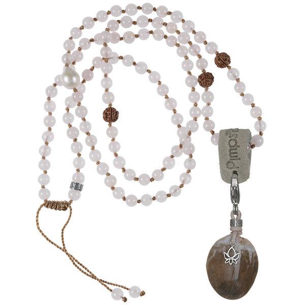 PimpsandPearls Mala Necklace Rose Quartz &Charm Petrified Wood