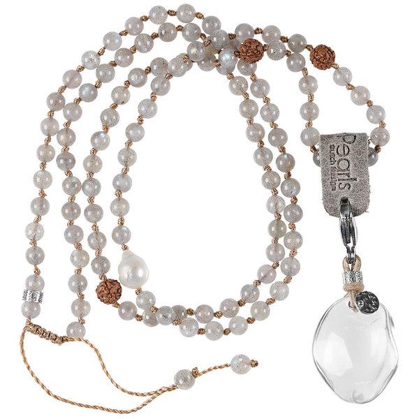 PimpsandPearls Mala Necklace Labradorite &Charm Bergkristal