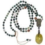 PimpsandPearls Mala Necklace Moss Agate &Charm Green Opal