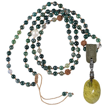 PimpsandPearls Mala Necklace Moss Agate &Charm Green Opal