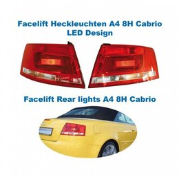 Facelift LED Rear Lights - Lights Only - Audi A4 8H Cabrio