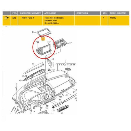 Audi Display A3 S3  scherm 8V0 857 273 H