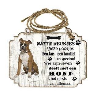 Creatief Art Hondenbordje: Boxer bruin
