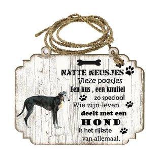 Creatief Art Hondenbordje: windhond zwart
