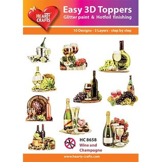 Hearty Crafts 3D-Topper Wine and champagne