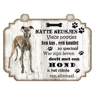 Hondenbordje: Greyhound (donker)