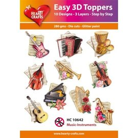 Hearty Crafts 3D-Topper-Musikinstrumente