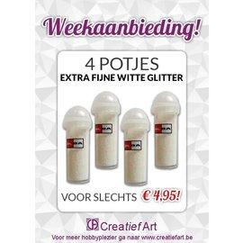 Weekaanbieding: 4x Witte Glitter