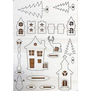 Creatief Art Village de Noël avec des cerfs et des arbres