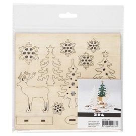 Creativ Company Ensemble en bois de cerfs et d'arbres