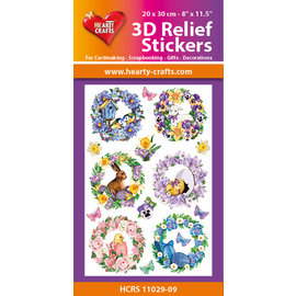 Hearty Crafts Autocollant relief 3D - Couronnes de printemps
