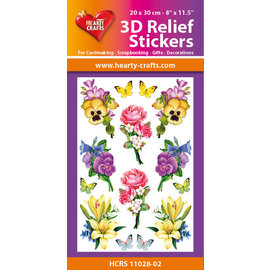Hearty Crafts Autocollant 3D en relief - Fleurs