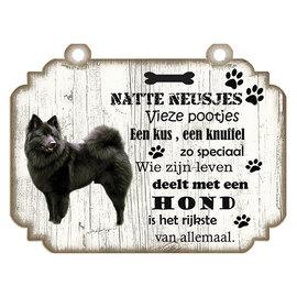 Creatief Art Hondenbordje: Keeshond Zwart