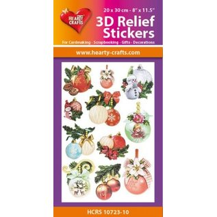 Hearty Crafts 3D Relief Stickers A4 -Christmas Baubles