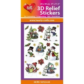 Hearty Crafts Stickers relief 3D A4 - Bonhommes de neige