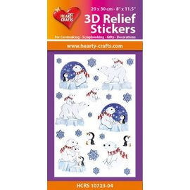 Hearty Crafts Stickers relief 3D A4 - Neige, ours et pingouin