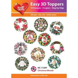 Hearty Crafts Easy 3D Toppers Weihnachtskranz