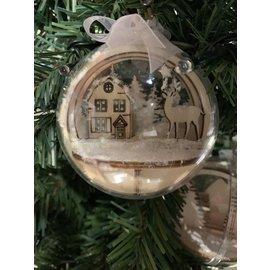 Creatief Art Weihnachtskugel aus Holz Ornament 01 + Weihnachtskugel 80mm