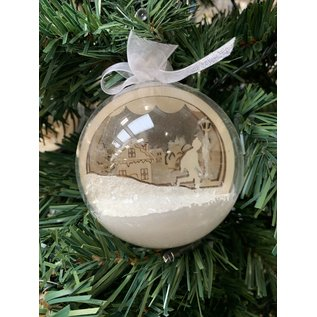 Creatief Art Houten Kerstbal Ornament 02 + Kerstbal 80mm