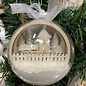 Creatief Art Houten Kerstbal Ornament 03 + Kerstbal 80mm