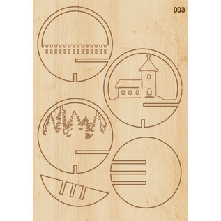 Creatief Art Boule de Noel en bois ornement 01 + boule de Noel 80mm - Copy - Copy