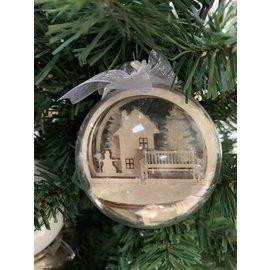 Creatief Art Houten Kerstbal Ornament 04 + Kerstbal 80mm