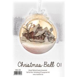 Creatief Art Boule de Noel en bois ornement 01 + boule de Noel 80mm - Copy - Copy - Copy - Copy