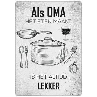 Creatief Art Spreukenbordje: Als Oma Het Eten Maakt, Is Het Altijd Lekker! | Houten Tekstbord