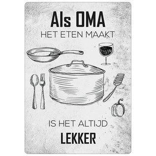 Spreukenbordje: Als Oma Het Eten Maakt, Is Het Altijd Lekker! | Houten Tekstbord
