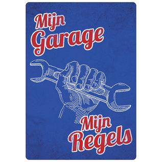 Spreukenbordje: Mijn Garage, Mijn Regels! | Houten Tekstbord
