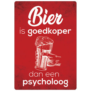 Creatief Art Spreukenbordje: Bier Is Goedkoper Dan Een Psycholoog! | Houten Tekstbord