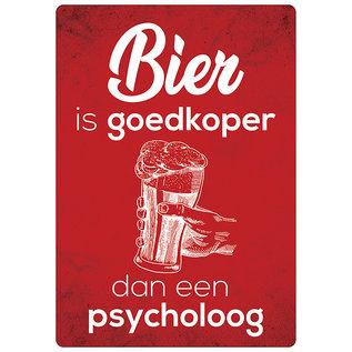 Spreukenbordje: Bier Is Goedkoper Dan Een Psycholoog!   Houten Tekstbord