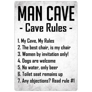 Creatief Art Spreukenbordje: Man Cave, Cave Rules! | Houten Tekstbord