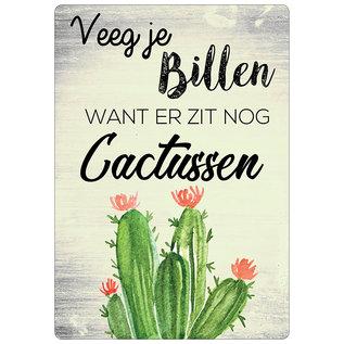 Creatief Art Spreukenbordje: Veeg Je Billen, Want Er Zit Nog Cactussen! | Houten Tekstbord