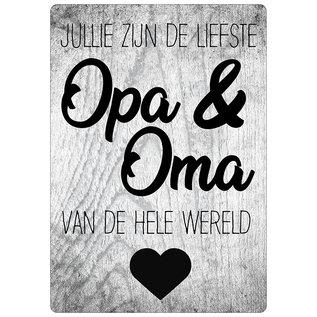 Creatief Art Spreukenbordje: Jullie Zijn De Liefste Opa & Oma Van De Hele Wereld! | Houten Tekstbord