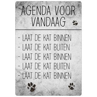 Creatief Art Spreukenbordje: Agenda Voor Vandaag: Laat De Kat Binnen. | Houten Tekstbord