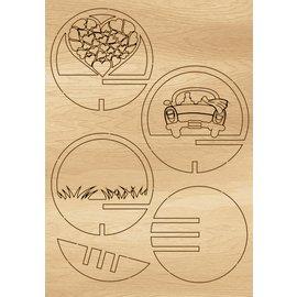 Creatief Art Boule en bois Mariage + Boule 80 mm